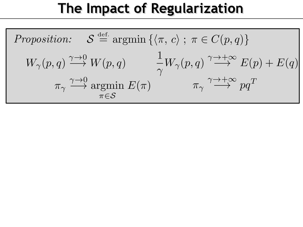 The Impact of Regularization Proposition: ⇡ !+1...