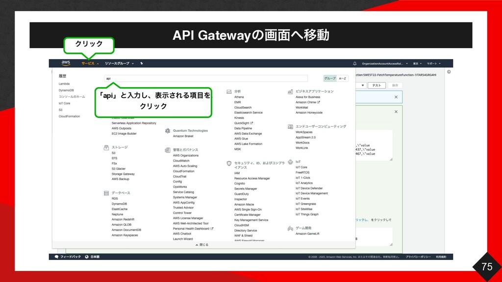 API Gatewayͷը໘Ҡಈ 75 ΫϦοΫ ʮapiʯͱೖྗ͠ɺදࣔ͞ΕΔ߲Λ ΫϦ...