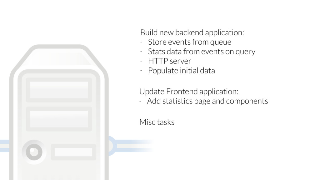 Build new backend application: - Store events f...