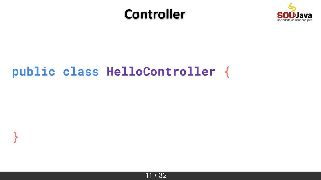 11 / 32 public class HelloController { } Contro...