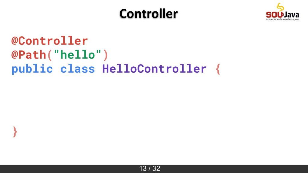 """13 / 32 Controller @Controller @Path(""""hello"""") p..."""