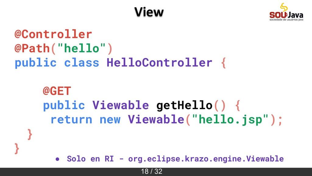 "18 / 32 View @Controller @Path(""hello"") public ..."