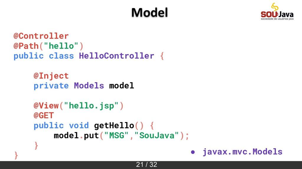 "21 / 32 Model @Controller @Path(""hello"") public..."