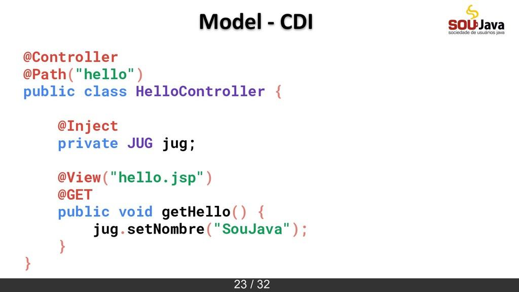 "23 / 32 Model - CDI @Controller @Path(""hello"") ..."