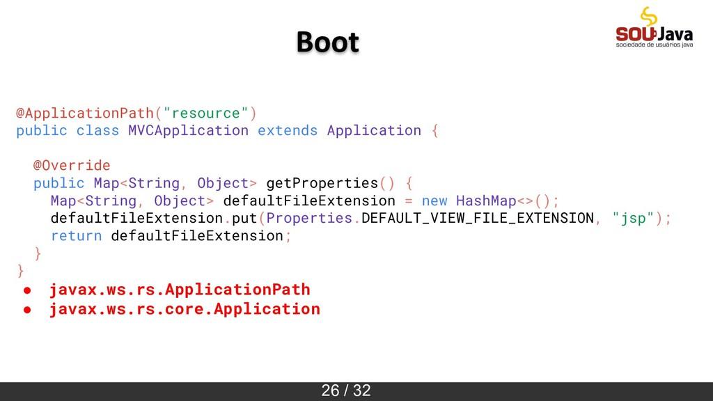 "26 / 32 @ApplicationPath(""resource"") public cla..."