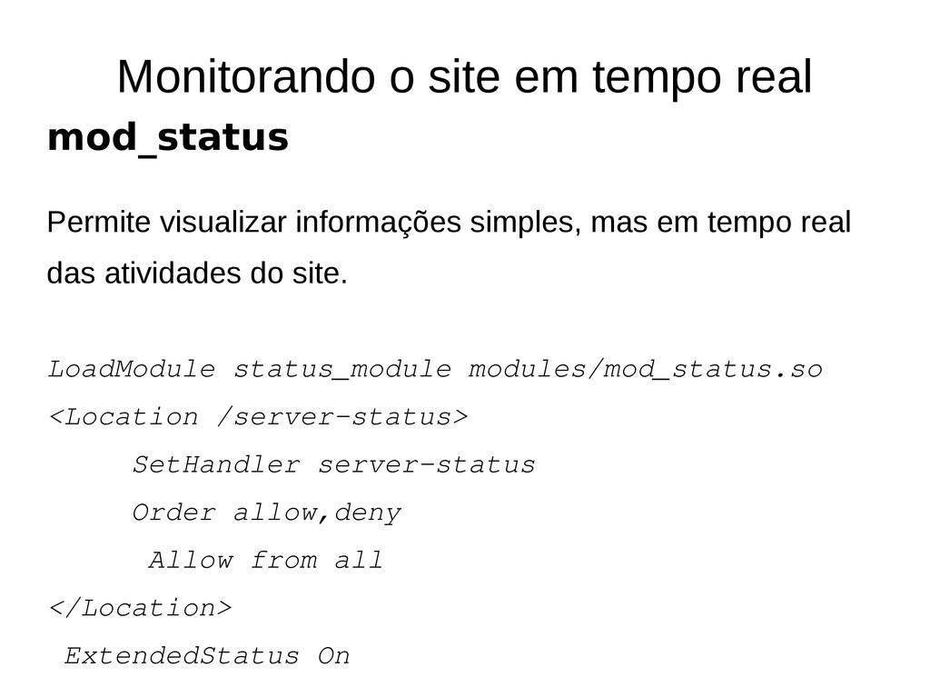 Monitorando o site em tempo real mod_status Per...