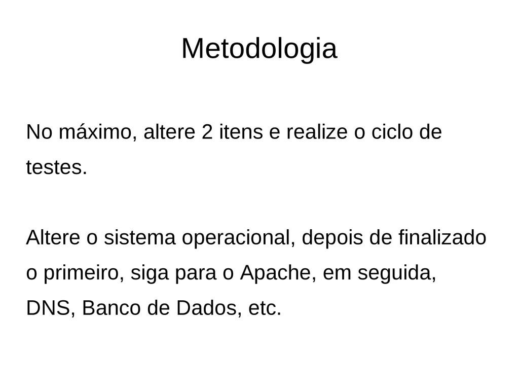 Metodologia No máximo, altere 2 itens e realize...