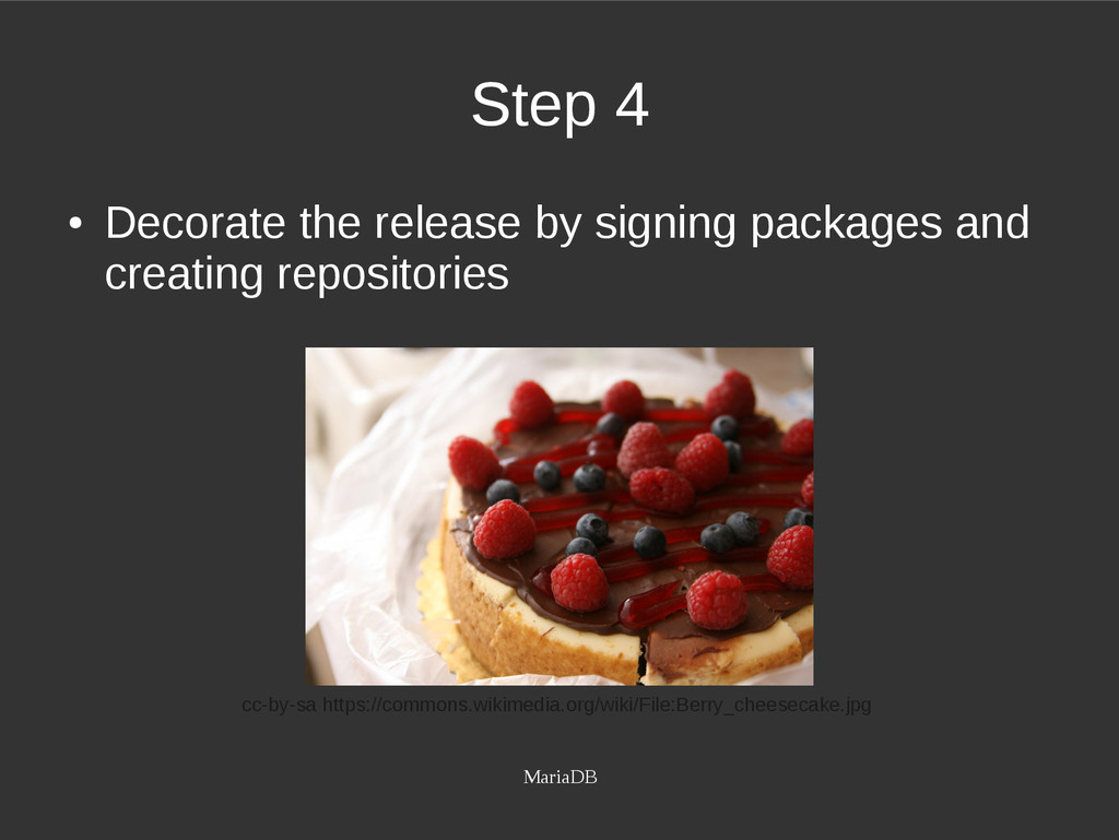 MariaDB Step 4 ● Decorate the release by signin...