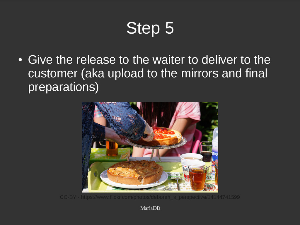 MariaDB Step 5 ● Give the release to the waiter...