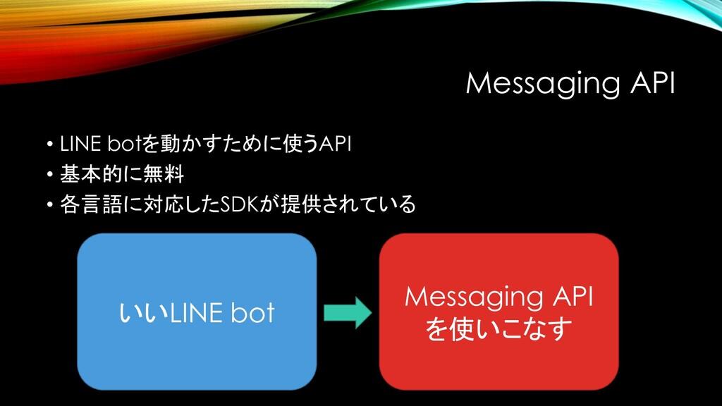 Messaging API • LINE botを動かすために使うAPI • 基本的に無料 •...