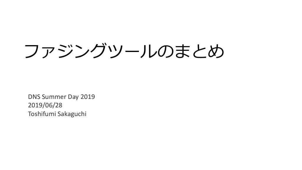 ファジングツールのまとめ DNS Summer Day 2019 2019/06/28 Tos...