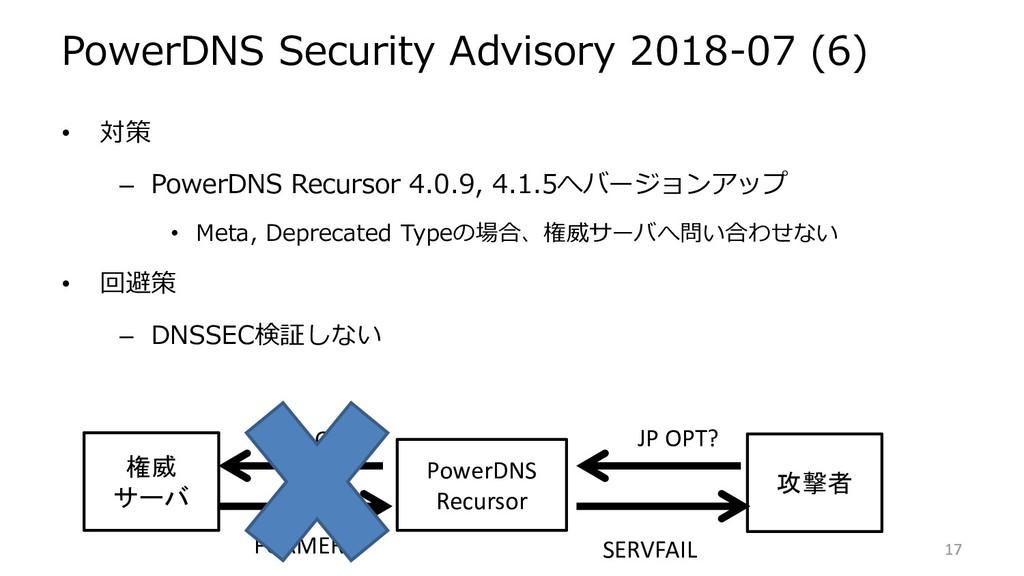 PowerDNS Security Advisory 2018-07 (6) • 対策 – P...