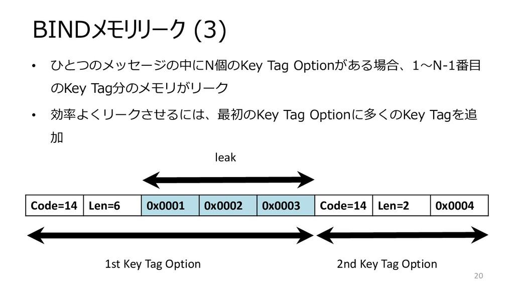 BINDメモリリーク (3) Code=14 Len=6 0x0001 0x0002 0x00...
