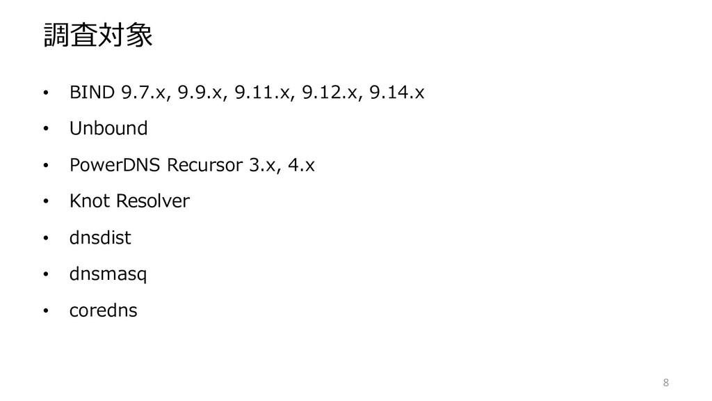 調査対象 • BIND 9.7.x, 9.9.x, 9.11.x, 9.12.x, 9.14....
