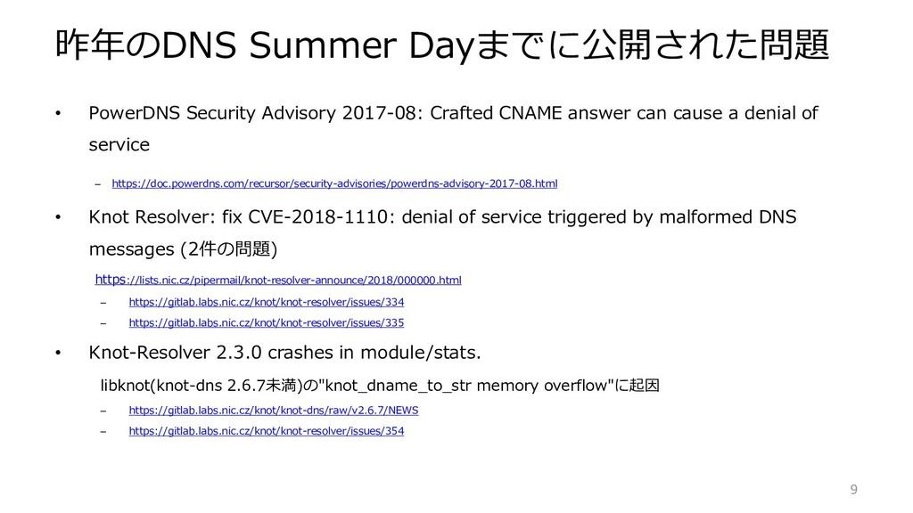 昨年のDNS Summer Dayまでに公開された問題 • PowerDNS Security...