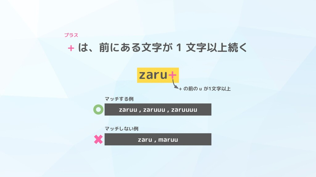+ は、前にある文字が 1 文字以上続く zaru+ + の前の u が1文字以上 プラス z...
