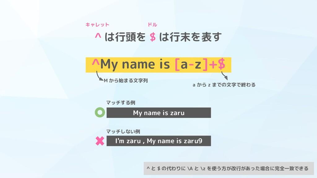 ^ は行頭を $ は行末を表す ^My name is [a-z]+$ M から始まる文字列 ...