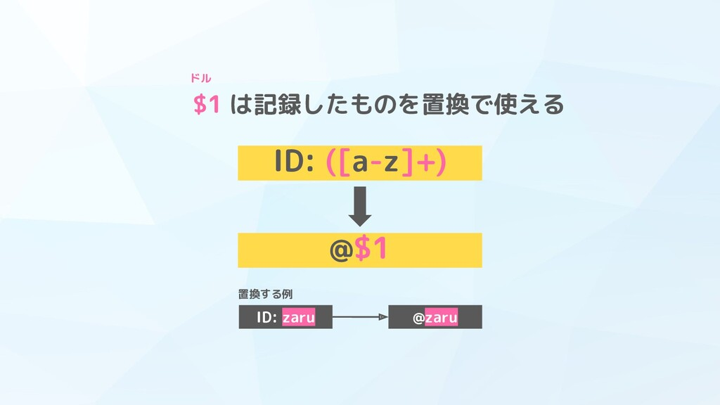 $1 は記録したものを置換で使える ID: ([a-z]+) ドル @$1 ID: zaru ...