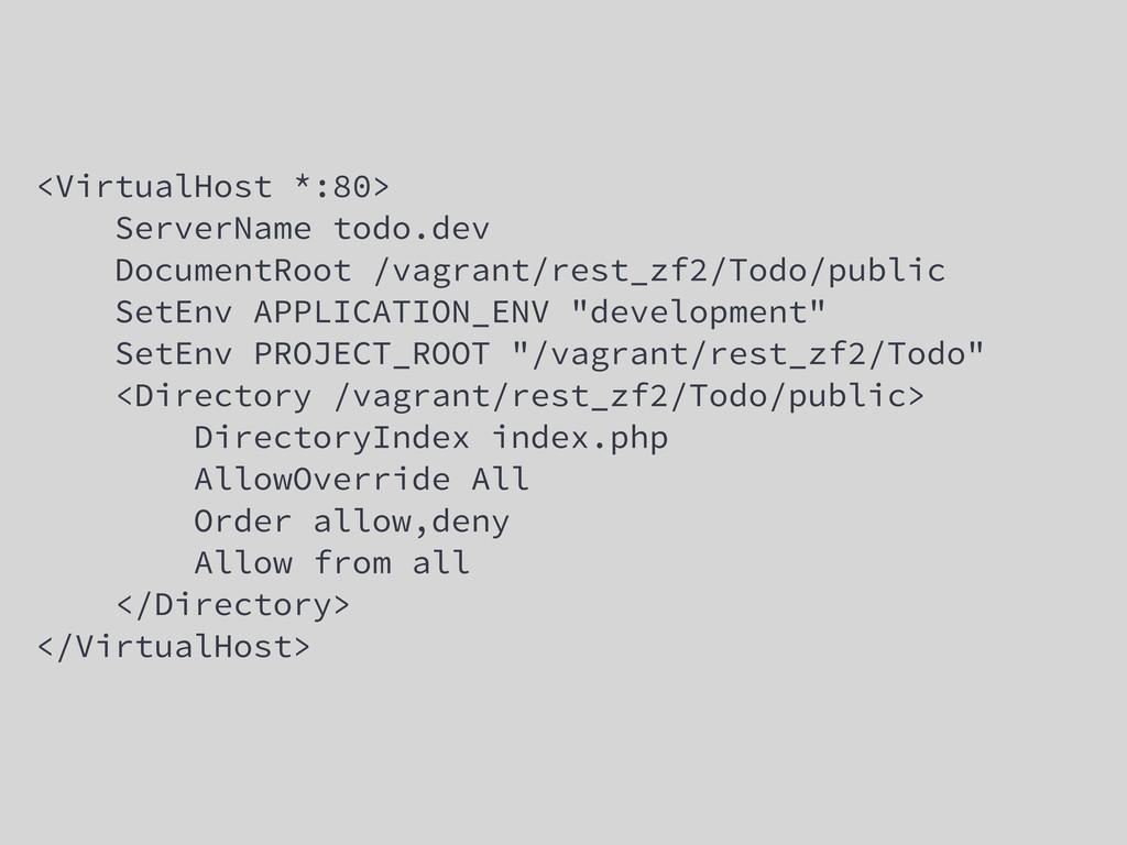 <VirtualHost *:80> ServerName todo.dev Document...