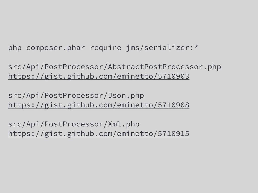 php composer.phar require jms/serializer:* src/...