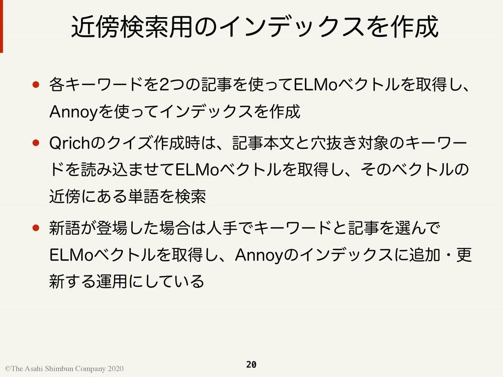 20 ©The Asahi Shimbun Company 2020 ۙݕࡧ༻ͷΠϯσοΫε...
