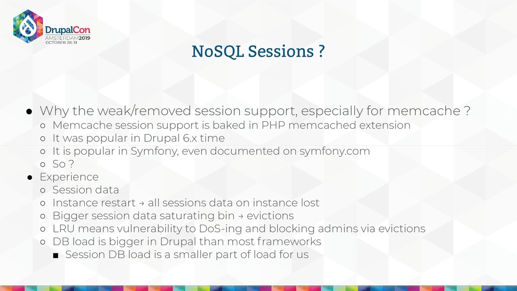 NoSQL Sessions ? ● Why the weak/removed session...