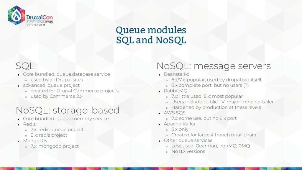 Queue modules SQL and NoSQL SQL ● Core bundled:...