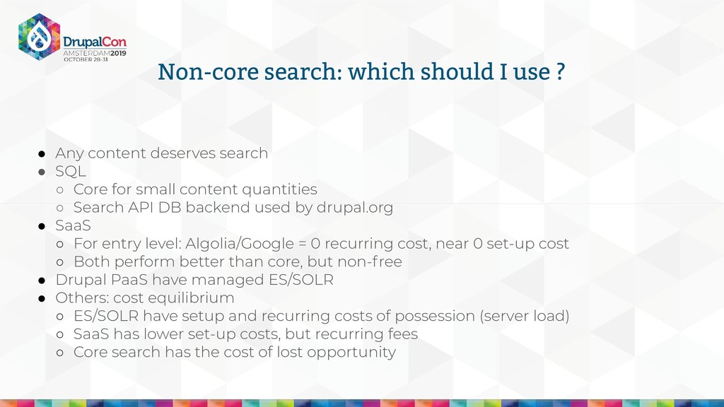 Non-core search: which should I use ? ● Any con...