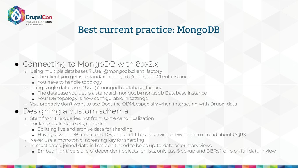 Best current practice: MongoDB ● Connecting to ...