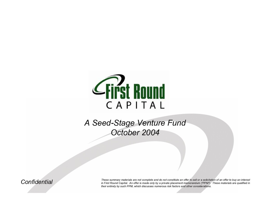 Confidential A Seed-Stage Venture Fund October ...