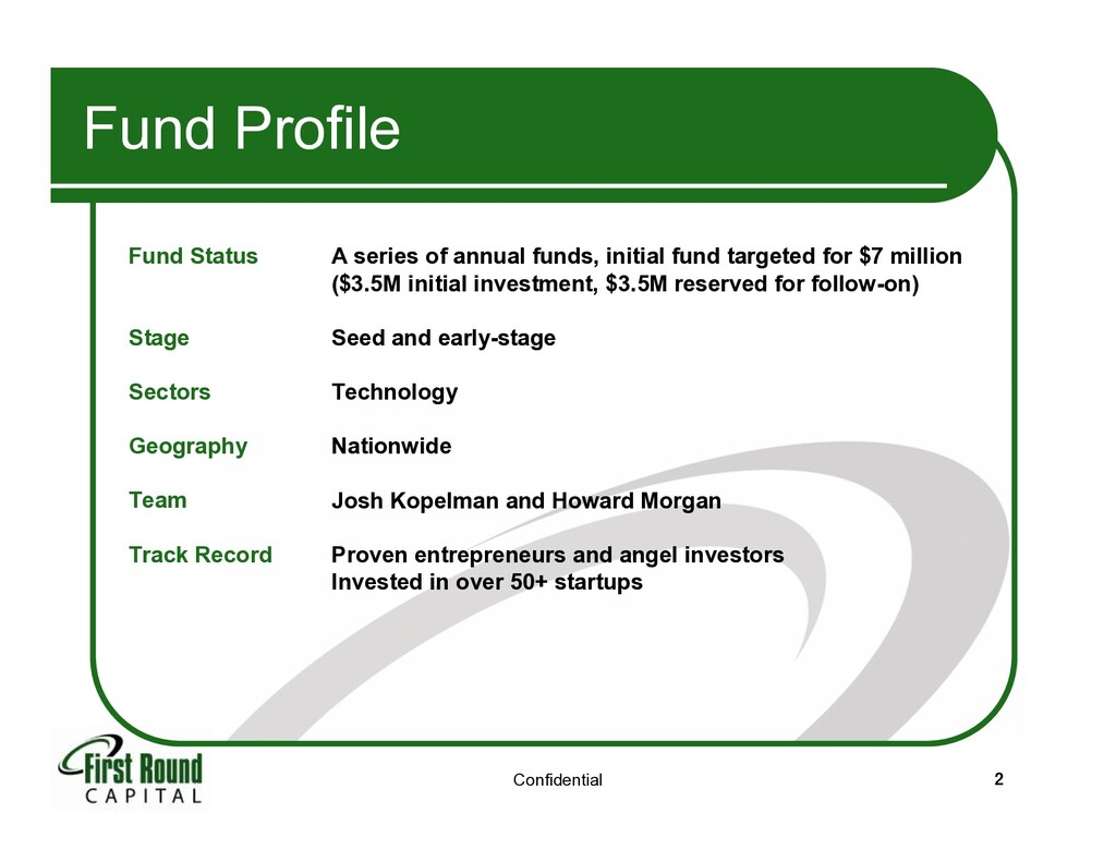 Confidential 2 Fund Profile Fund Status Stage ...