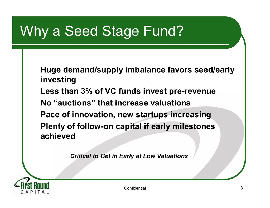 Confidential 3 Why a Seed Stage Fund? Huge dema...