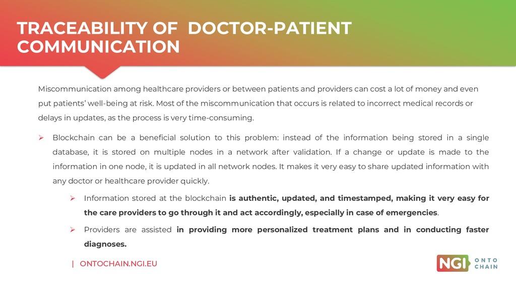 | ONTOCHAIN.NGI.EU TRACEABILITY OF DOCTOR-PATIE...
