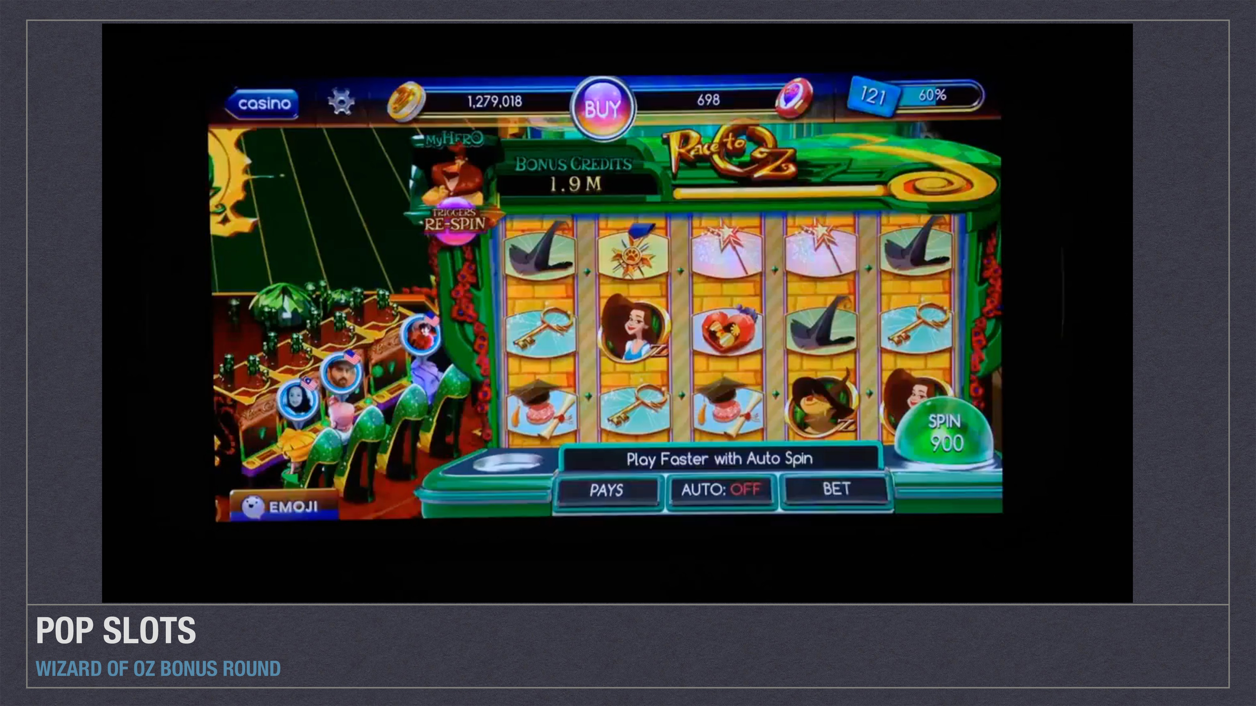 POP SLOTS WIZARD OF OZ BONUS ROUND