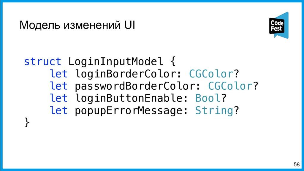 Модель изменений UI struct LoginInputModel { le...