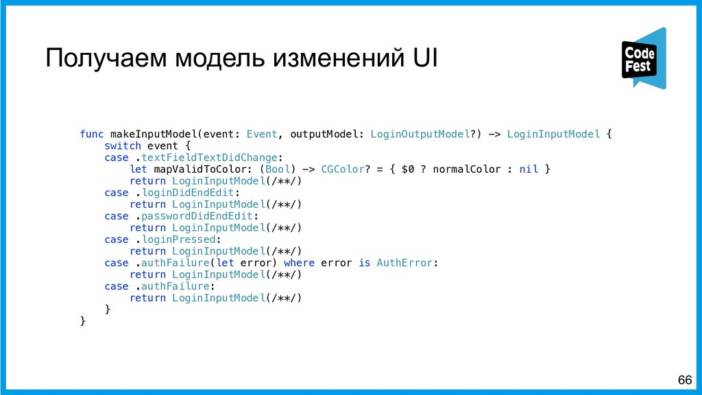 Получаем модель изменений UI func makeInputMode...