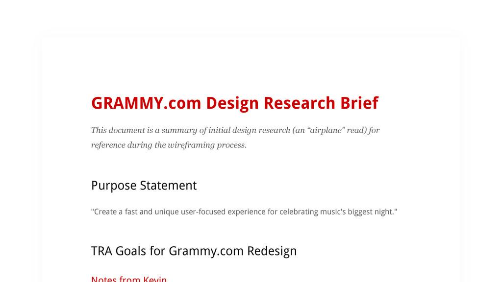 GRAMMY.com Design Research Brief This document ...
