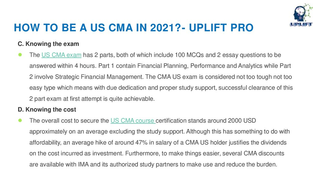 HOW TO BE A US CMA IN 2021?- UPLIFT PRO C. Know...