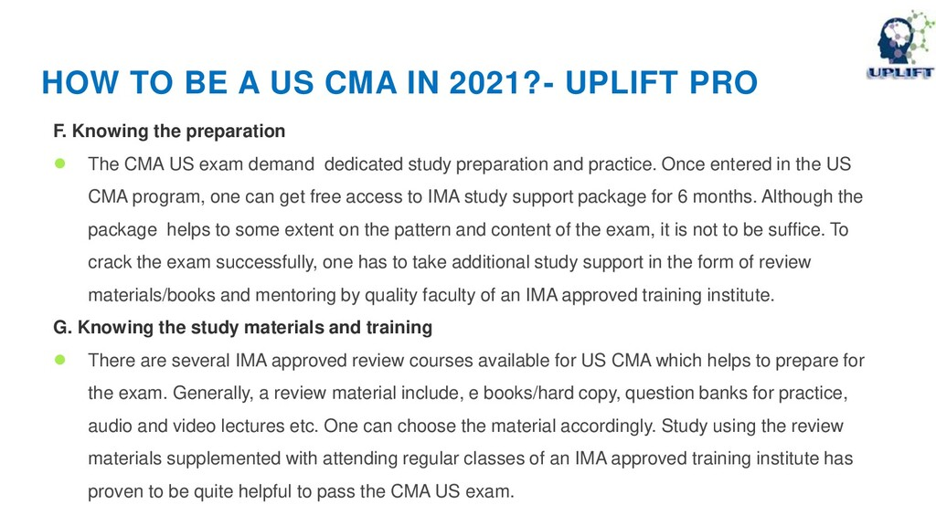 HOW TO BE A US CMA IN 2021?- UPLIFT PRO F. Know...
