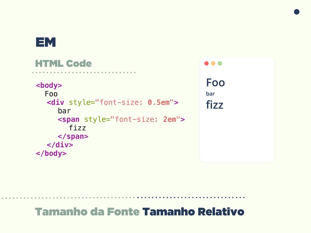 Tamanho da Fonte Tamanho Relativo HTML Code <bo...
