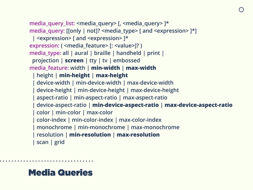 Media Queries media_query_list: <media_query> [...