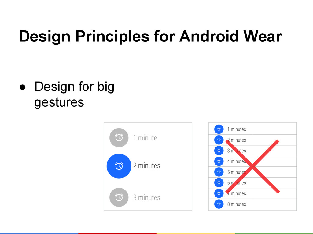 Design Principles for Android Wear ● Design for...