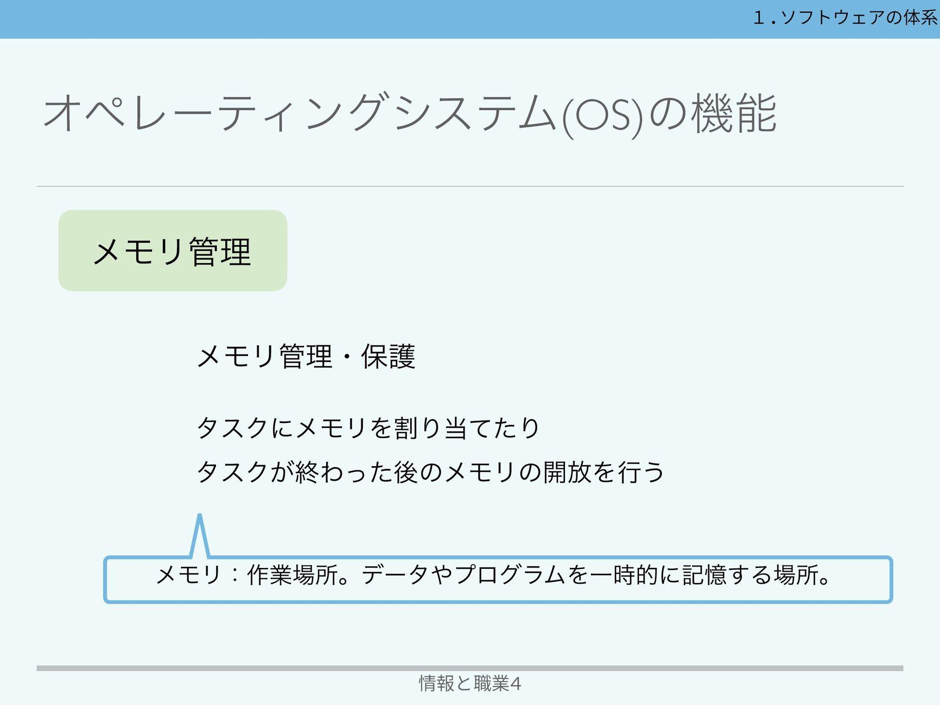 ΦϖϨʔςΟϯάγεςϜ(OS)ͷػ 情報と職業4 1.ソフトウェアの体系 σʔλཧػ ...
