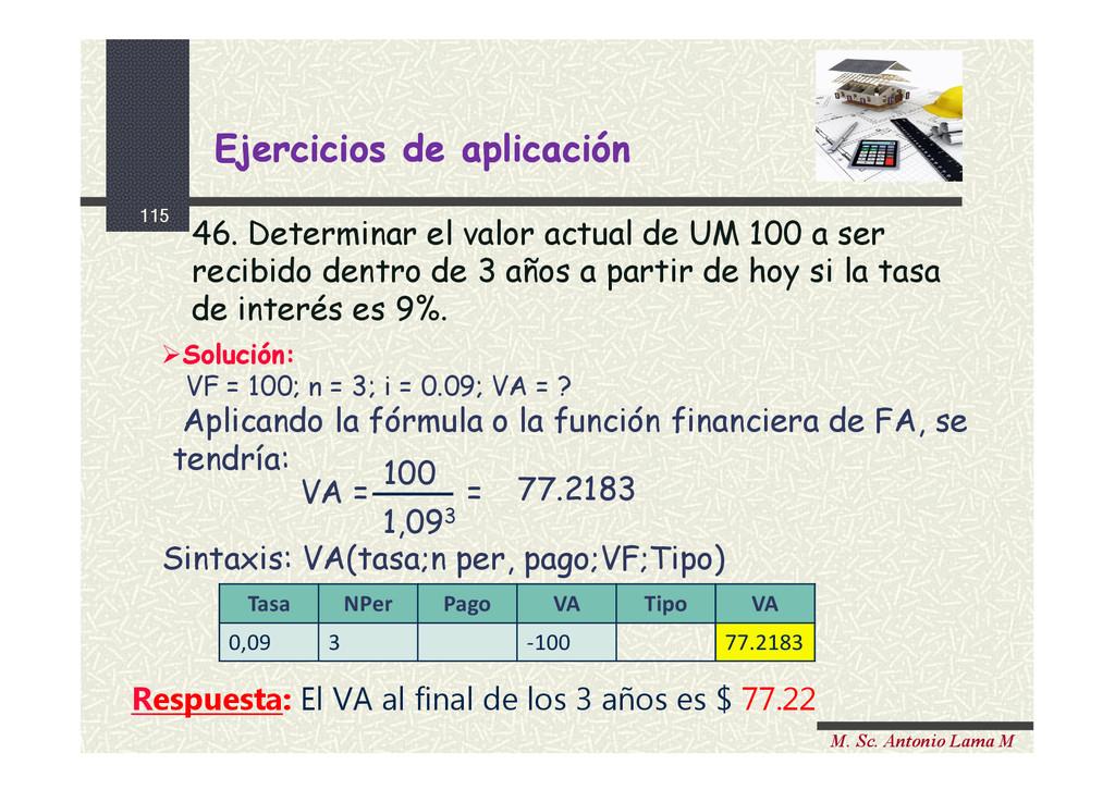 115 M. Sc. Antonio Lama M 46. Determinar el val...