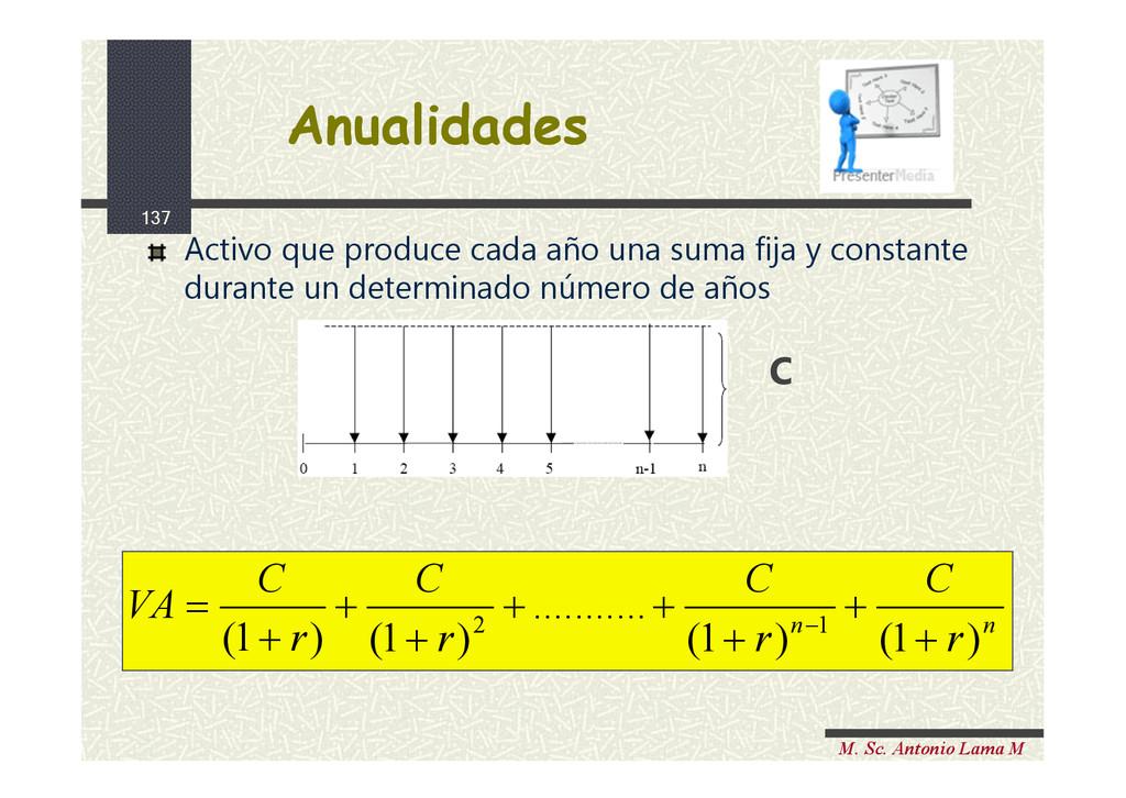 137 M. Sc. Antonio Lama M Anualidades Anualidad...