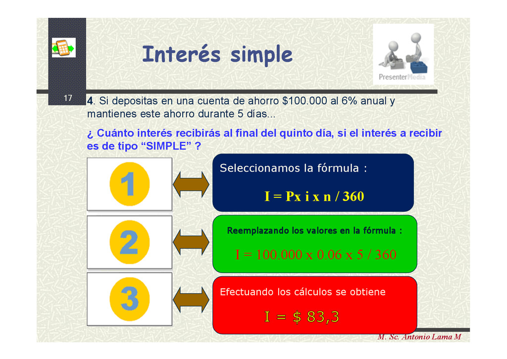 17 M. Sc. Antonio Lama M Interés simple Interés...