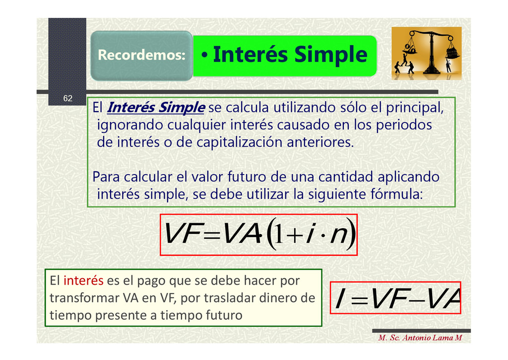 62 M. Sc. Antonio Lama M • Interés Simple Recor...