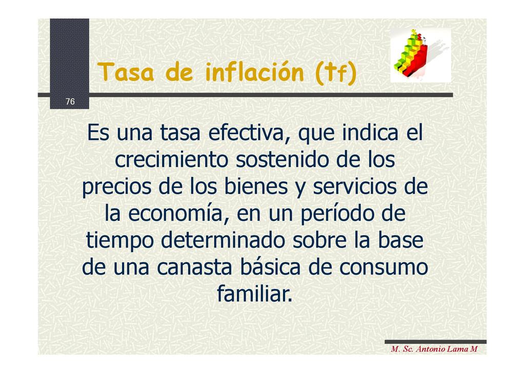 76 M. Sc. Antonio Lama M Tasa de inflación (tf)...