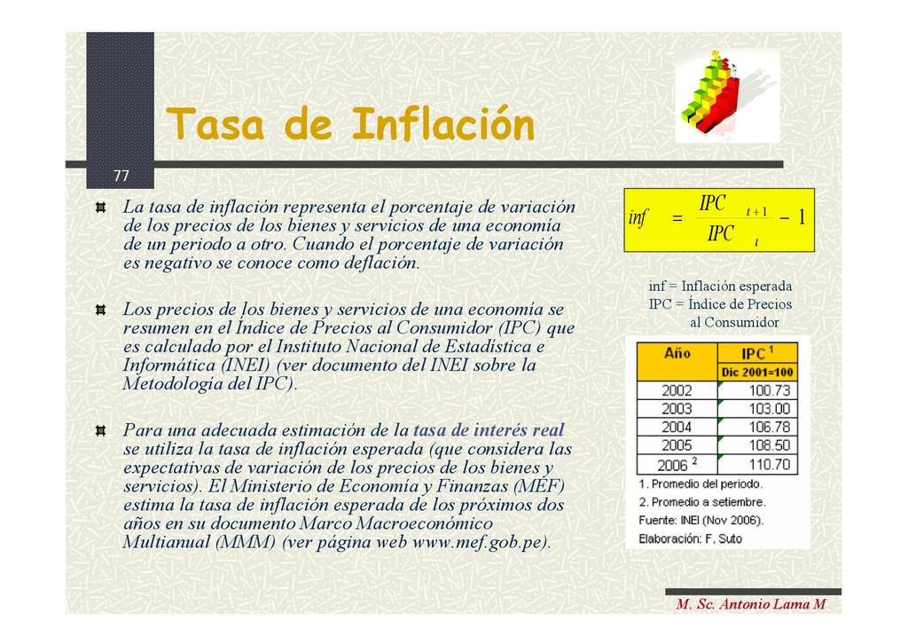 77 M. Sc. Antonio Lama M Tasa de Inflación La t...