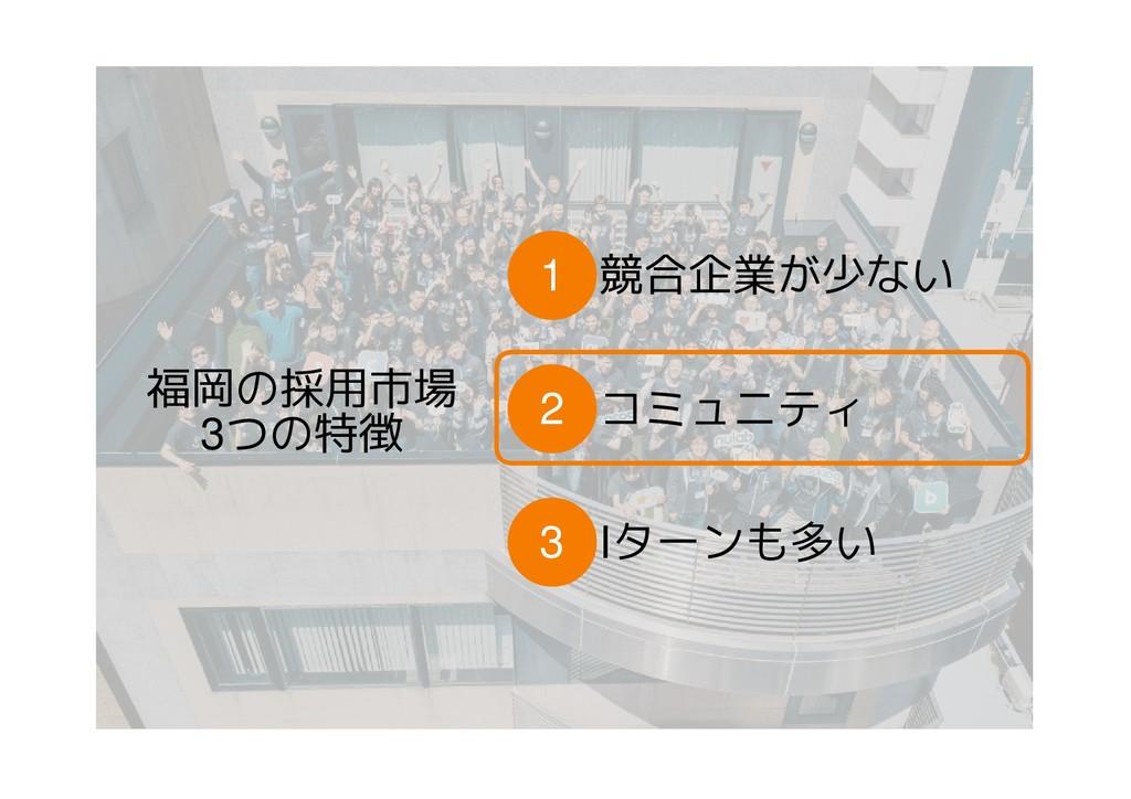 福岡の採用市場 3つの特徴 競合企業が少ない 1 Iターンも多い 3 コミュニティ 2